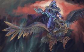 Картинка орел, эльф, фантастика, птица, полет, капьшок, клюв