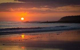 Картинка песок, море, волны, небо, вода, облака, пейзаж