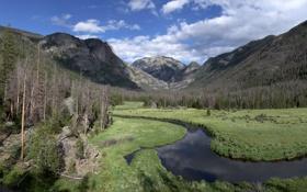 Обои река, зелень, A Winding Stream, небо