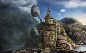 Обои пейзаж, фантастика, скалы, дом, вода, озеро, трубы