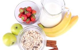 Обои хлопья, cereals, мюсли с молоком и фруктами и свежими ягодами, Здоровый завтрак, A healthy Breakfast, ...