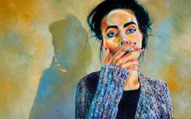Обои взгляд, девушка, арт, сигарета, голубые глаза, курит