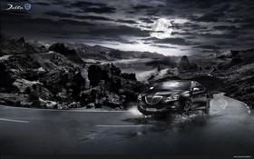 Обои горы, луна, Италия, Lancia, Lancia Delta, монохром дорога