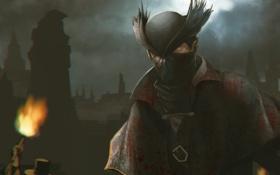 Обои ночь, кровь, шляпа, маска, факел, art, RPG
