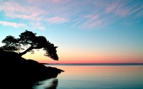 Картинка небо, вода, пейзаж, закат, природа, озеро, отражение