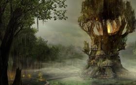 Обои вода, огни, болото, хижины, мостик, Gothic, Arcania