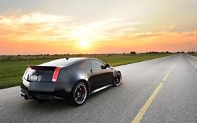 Обои Cadillac, Солнце, Небо, Авто, Дорога, Черный, Тюнинг