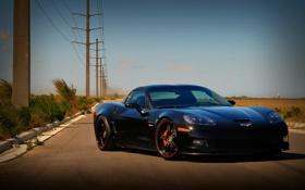 Картинка чёрный, Z06, Corvette, Chevrolet, шевроле, black, корвет