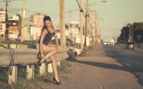 Картинка дорога, девушка, ножки, обочина