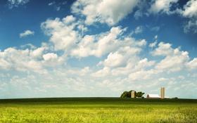 Обои облака, фермы, трава, небо, горизонт, амбары, 2. дерево