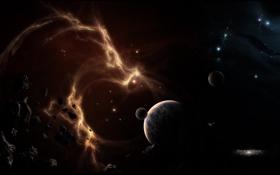 Обои аномалия, космическая, планеты
