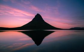 Обои Исландия, отражение, Kirkjufel, Iceland, гора