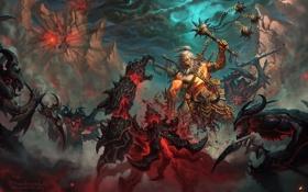 Обои варвар, kaasturovec, битва, diablo3, арт, горы, barbarian
