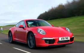 Обои дорога, авто, скорость, 911, Porsche, Coupe, Carrera 4S