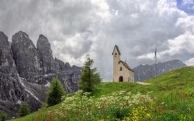 Обои пейзаж, горы, часовня, Selva di Val Gardena