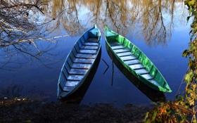 Картинка вода, деревья, озеро, отражение, река, лодки