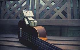 Картинка скамейка, гитара, dambo