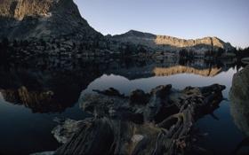 Обои вода, горы, природа, скала, озеро, камни, фото