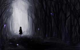 Картинка лес, улыбка, темнота, девочка