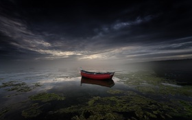 Картинка ночь, туман, озеро, лодка