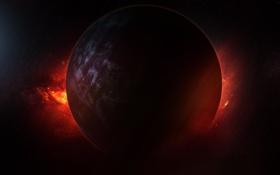 Обои космос, звезды, планета, сияние
