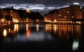Обои ночь, река, улица, швейцария