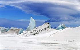 Обои небо, облака, снег, Антарктика, льдины
