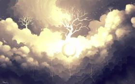 Обои облака, абстракция, дерево, арт