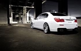 Обои белый, ночь, мост, бмв, BMW, white, 750Li