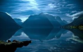 Картинка облака, горы, небо, озеро