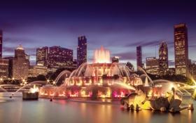 Обои ночь, город, огни, фонтан, USA, панорамма, Сhicago