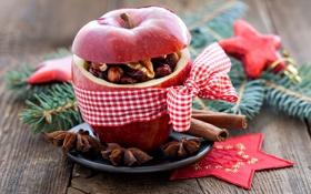 Обои ветки, красное, яблоко, ель, Рождество, орехи, корица