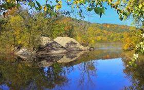 Картинка осень, лес, небо, деревья, горы, озеро, камни