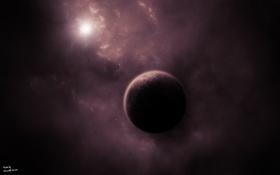 Обои солнце, звезды, туманность, планета, атмосфера