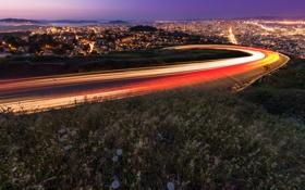 Обои дорога, город, огни, дома, Сан-Франциско, San Francisco, Twin Peaks