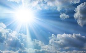 Обои white, sunshine, clouds, blue