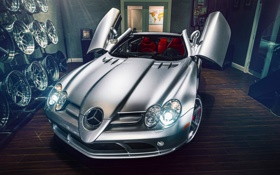 Обои Mercedes-Benz, SLR, Front, AMG, Tuning, Supercar, Silver