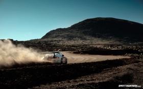 Обои дорога, car, спорт, скорость, пыль, porsche