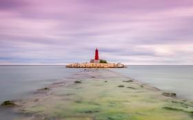 Обои море, маяк, Испания, Валенсия