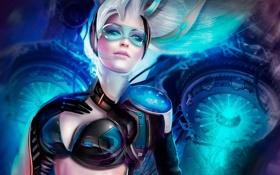 Картинка девушка, волосы, рука, арт, очки, костюм, Galaxy Saga