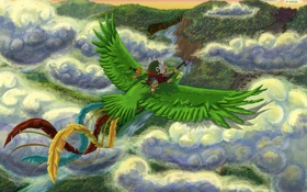Картинка облака, долина, индейцы, небо, Гватемала, птица, Перу