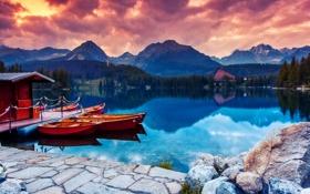 Обои горное озеро, the night, домик, вечер, лодки, деревья, mountain lake