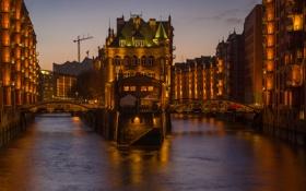 Обои мост, дома, вечер, Германия, канал, Гамбург