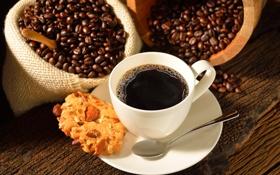 Картинка ложка, зерна, орехи, блюдце, миндаль, кофе, печенье