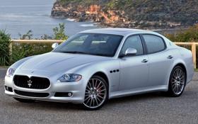 Обои Maserati, Quattroporte, серебристый, Спорт, Мазерати, седан, передок