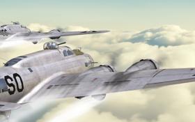 Обои самолеты, бомбардировщики, art, над облаками, antonis karidis, b-17 flying fortress