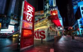 Картинка город, ночь, New York, улица, Theatre District