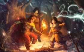 Обои Wonderful Adventure Of Benjamin And Solomon, арт, зима, люди