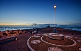 Картинка пейзаж, фонари, море