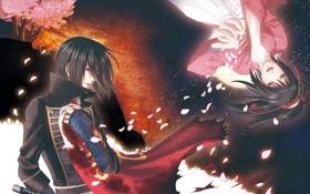 Картинка девушка, меч, лепестки, слезы, мужчина, Hakuouki, Yukimura Chizuru